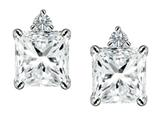 Original Star K™ 7mm Square Cut Genuine White Topaz Earrings Studs style: 307172