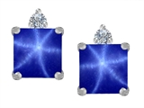 Original Star K 7mm Square Cut Created Star Sapphire Earring Studs