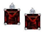 Original Star K 7mm Square Cut Genuine Garnet Earring Studs