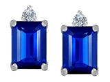 Original Star K 8x6mm Emerald Octagon Cut Created Sapphire Earring Studs