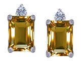 Original Star K 8x6mm Emerald Octagon Cut Simulated Imperial Yellow Topaz Earring Studs