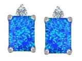 Original Star K 8x6mm Emerald Octagon Cut Created Blue Opal Earring Studs