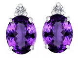 Star K™ 8x6mm Oval Simulated Amethyst Earrings Studs style: 307193