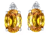 Star K™ 8x6mm Oval Simulated Citrine Earrings Studs style: 307195