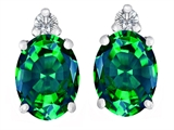 Original Star K 8x6mm Oval Simulated Emerald Earring Studs
