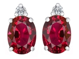 Star K™ 8x6mm Oval Created Ruby Earrings Studs style: 307204