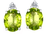 Original Star K 8x6mm Oval Genuine Peridot Earring Studs