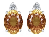 Original Star K 8x6mm Oval Genuine Citrine Earring Studs