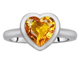 Star K™ 8mm Heart Shape Solitaire Ring With Simulated Citrine style: 307213