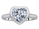 Original Star K 8mm Heart Shape Solitaire Engagement Ring With Genuine White Topaz