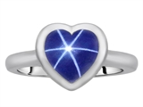 Original Star K 8mm Heart Shape Solitaire Engagement Ring With Created Star Sapphire