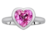 Original Star K 8mm Heart Shape Solitaire Engagement Ring With Created Pink Sapphire