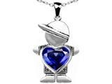 Original Star K™ Boy Holding 8mm Mother Heart September Birth Month Pendant with Created Sapphire style: 307219
