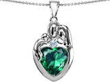 Original Star K™ Large Loving Mother Father With Child Family Pendant With 12mm Heart Simulated Emerald