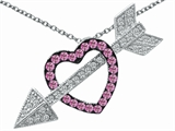 Original Star K Created Pink Sapphire Heart With Love Arrow Pendant