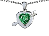 Star K™ Heart With Arrow Love Pendant Necklace With Simulated Emerald style: 307224