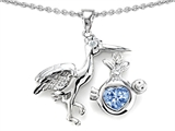 Original Star K™ New Baby Stork Mother Pendant with 8mm Heart Shape Simulated Aquamarine