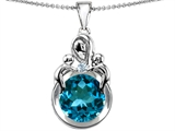 Original Star K™ Large Loving Mother With Twins Children Pendant With Round 10mm Simulated Blue Topaz