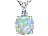 Original Star K™ Large 12mm Round Created Opal Pendant
