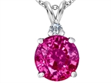 Original Star K Large 12mm Round Created Pink Sapphire Pendant