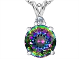 Original Star K Large 12mm Round Rainbow Mystic Topaz Pendant