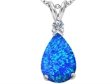 Star K™ Large Pear Shape Blue Created Opal Pendant Necklace style: 307247