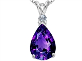Star K™ Large 14x10mm Pear Shape Simulated Amethyst Pendant Necklace style: 307250