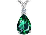 Original Star K Large 14x10mm Pear Shape Simulated Emerald Pendant