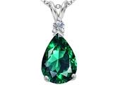 Original Star K™ Large 14x10mm Pear Shape Simulated Emerald Pendant style: 307254