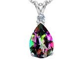 Original Star K Large 14x10mm Pear Shape Rainbow Mystic Topaz Pendant