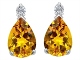 Original Star K 9x6mm Pear Shape Genuine Citrine Earring Studs