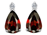 Original Star K 9x6mm Pear Shape Genuine Garnet Earring Studs