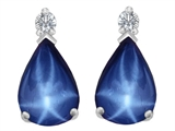 Original Star K 9x6mm Pear Shape Created Star Sapphire Earring Studs