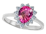 Original Star K 8x6mm Pear Shape Created Pink Sapphire Engagement Ring