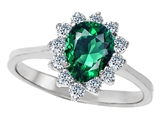 Original Star K 8x6mm Pear Shape Simulated Emerald Engagement Ring
