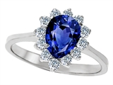 Original Star K 8x6mm Pear Shape Created Sapphire Engagement Ring