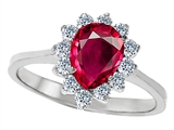 Original Star K 8x6mm Pear Shape Created Ruby Engagement Ring