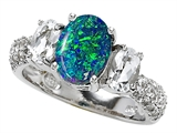 Original Star K 9x7mm Oval Created Blue Opal Engagement Ring
