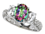 Original Star K 9x7mm Oval Rainbow Mystic Topaz Engagement Ring