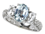 Original Star K™ 9x7mm Oval Simulated Aquamarine Engagement Ring