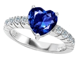 Original Star K 8mm Heart Shape Created Sapphire Engagement Ring
