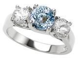 Original Star K 7mm Round Simulated Aquamarine Engagement Ring