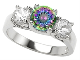 Original Star K 7mm Round Rainbow Mystic Topaz Engagement Ring