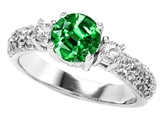Original Star K 7mm Round Simulated Emerald Engagement Ring