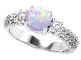 Original Star K 7mm Round Created Opal Engagement Ring