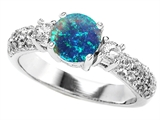 Original Star K™ 7mm Round Simulated Blue Opal Ring style: 307297