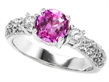 Original Star K™ 7mm Round Created Pink Sapphire Ring style: 307299