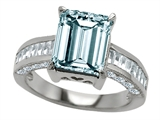 Original Star K 10x8mm Emerald Cut Simulated Aquamarine Engagement Ring