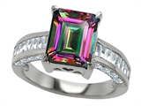 Original Star K 10x8mm Emerald Cut Rainbow Mystic Topaz Engagement Ring