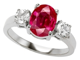Original Star K 9x7mm Oval Created Ruby Engagement Ring